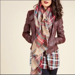 ModCloth Loch and Key Scarf in Taupe Tartan Plaid